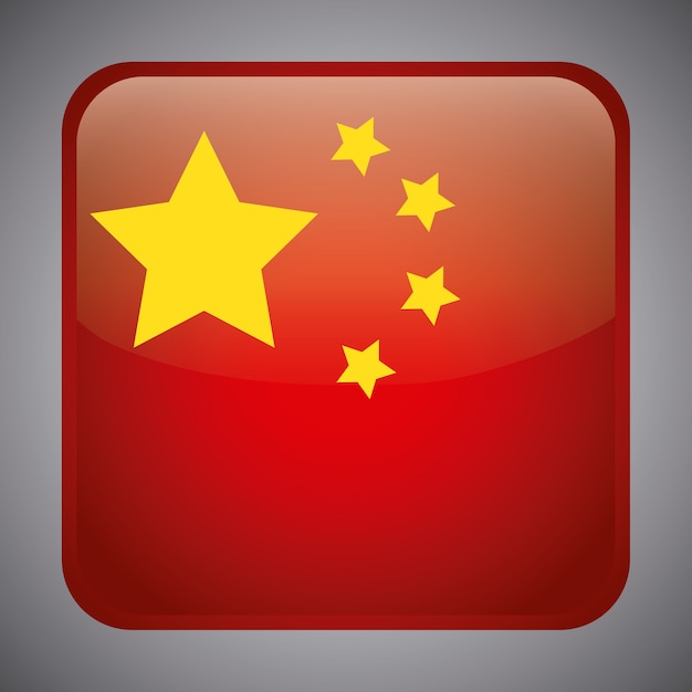 China flagge in quadratischer form Premium Vektoren