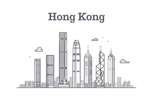 China hong kong skyline der stadt. architekturmarksteine und gebäudevektorlinie panorama Premium Vektoren