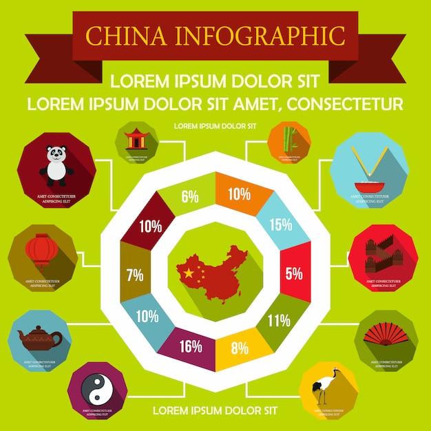 China infographik elemente im flachen stil für jedes design Premium Vektoren