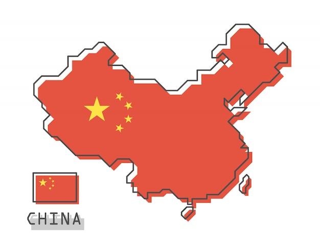 China karte und flagge Premium Vektoren