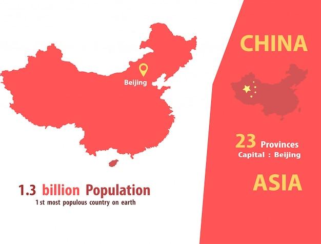 China-kartenvektor anzahl der bevölkerung und weltgeographie Premium Vektoren