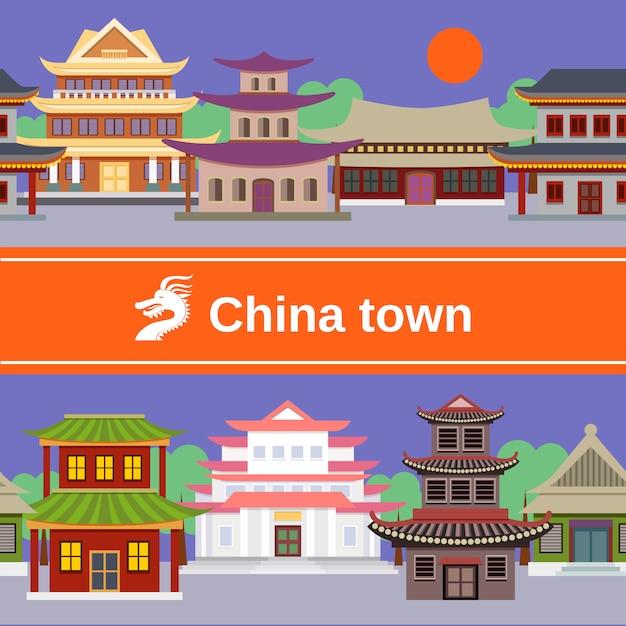 China stadt nahtlose muster Premium Vektoren