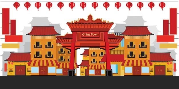 Chinatown flachen stil. Premium Vektoren