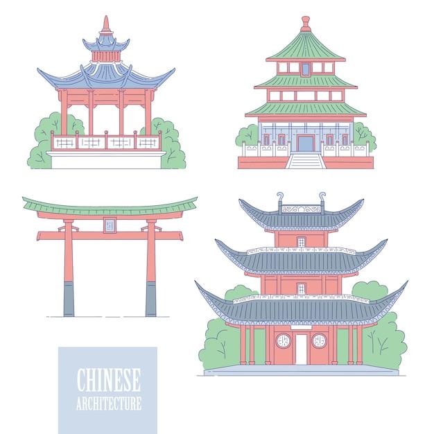 Chinesische architektonische wahrzeichen. tor art pagode und pavillon der orientalischen architektur. set verschiedene traditionelle nationale gebäude von china. Premium Vektoren