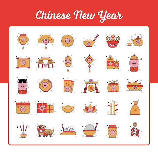 Chinesische neujahr-icons set Premium Vektoren