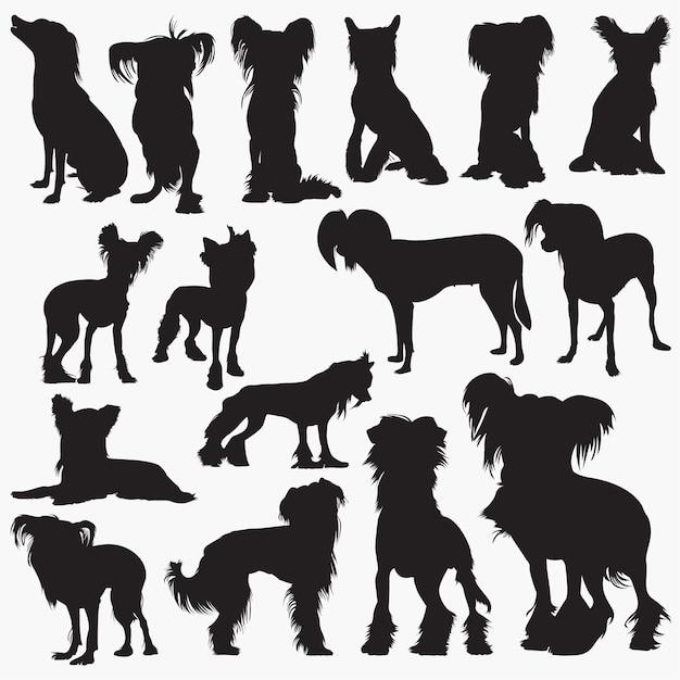 Chinesische schopfhund-silhouetten Premium Vektoren