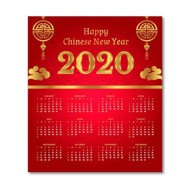 Chinesischer kalender des neuen jahres im flachen design mit steigung Kostenlosen Vektoren