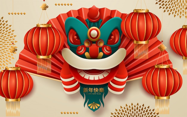 Chinesischer löwekopf des neuen jahres mit rolle. übersetzung: frohes neues jahr. vektor-illustration Premium Vektoren