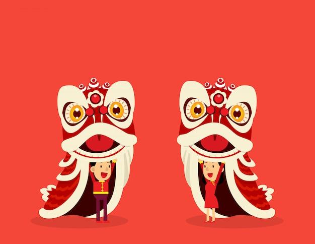Chinesischer löwentanz Premium Vektoren