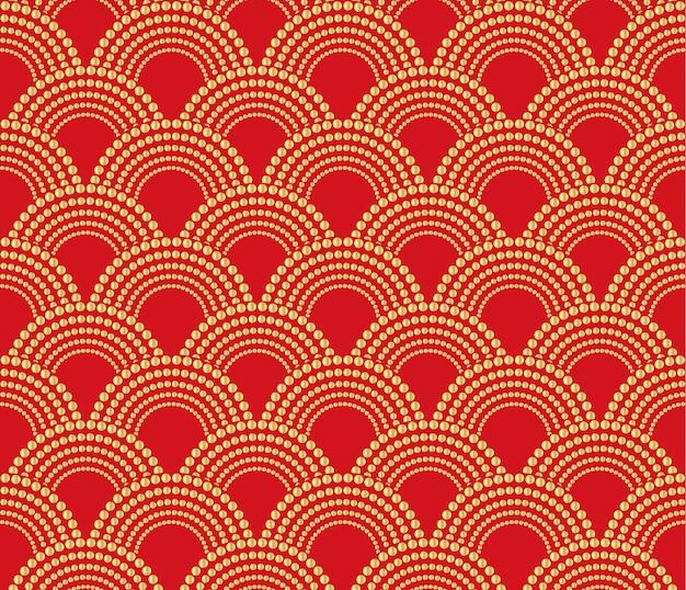 Chinesischer traditioneller orientalischer verzierungshintergrund, rot mit goldmuster außer. Premium Vektoren