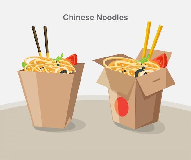 Chinesisches essen zum mitnehmen box, take away box nudeln Premium Vektoren