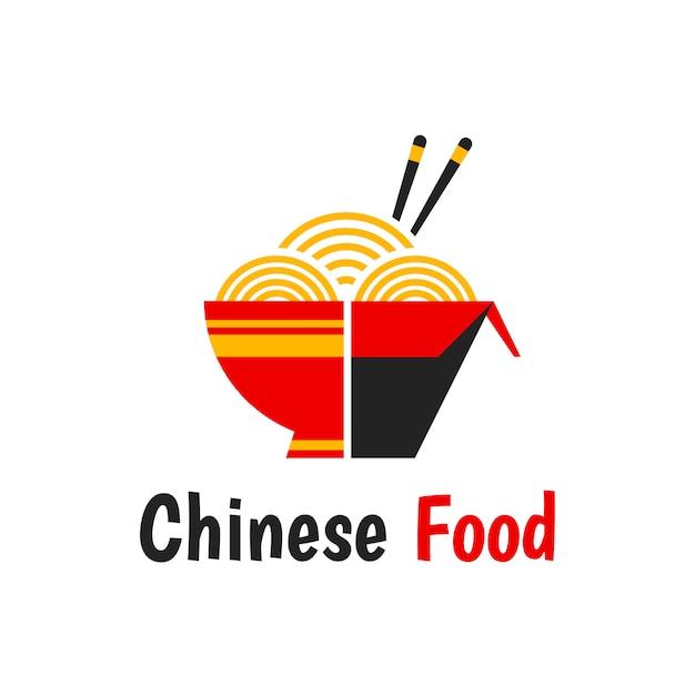 Chinesisches lebensmittel lokalisierte die flache karikaturillustrationsikone, die auf weiß lokalisiert wurde. nudelschachtel, originalrezept, essstäbchen, woknudeln. chinesisches essen-logo Premium Vektoren