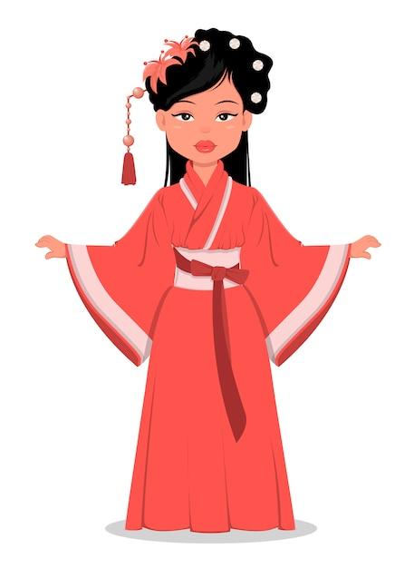 Chinesisches mädchen in traditioneller kleidung Premium Vektoren