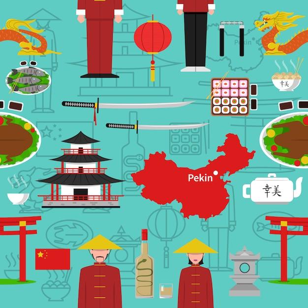 Chinesisches nahtloses muster Kostenlosen Vektoren