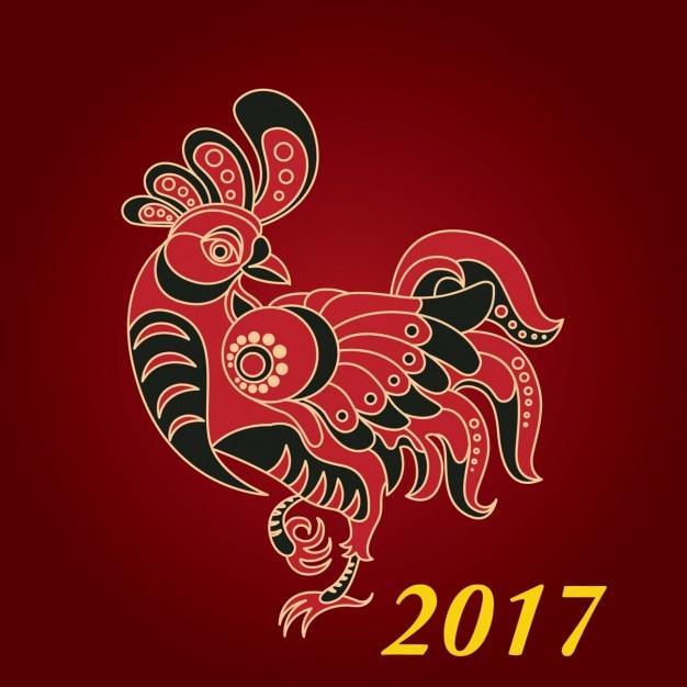 Chinesisches neues Jahr 2017 backgroun mit roten Hahn | Download der ...