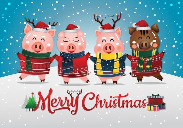 Chinesisches neujahr 2019 des schweins. weihnachtsgrußkarte Premium Vektoren
