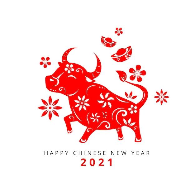 Chinesisches neujahr 2021 Premium Vektoren
