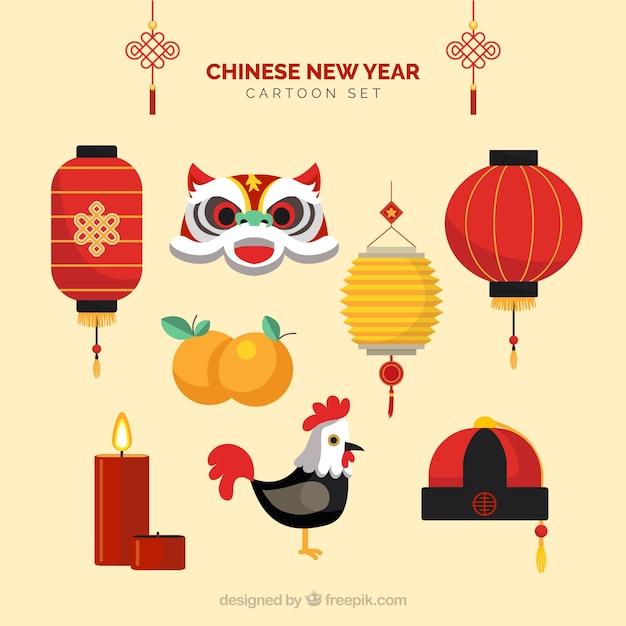 Chinesisches neujahr cartoons Kostenlosen Vektoren