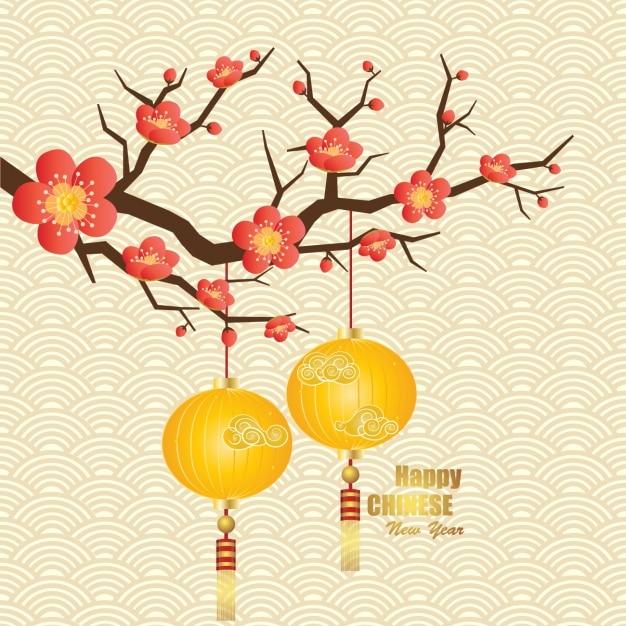 Chinesisches neujahr hintergrund Kostenlosen Vektoren