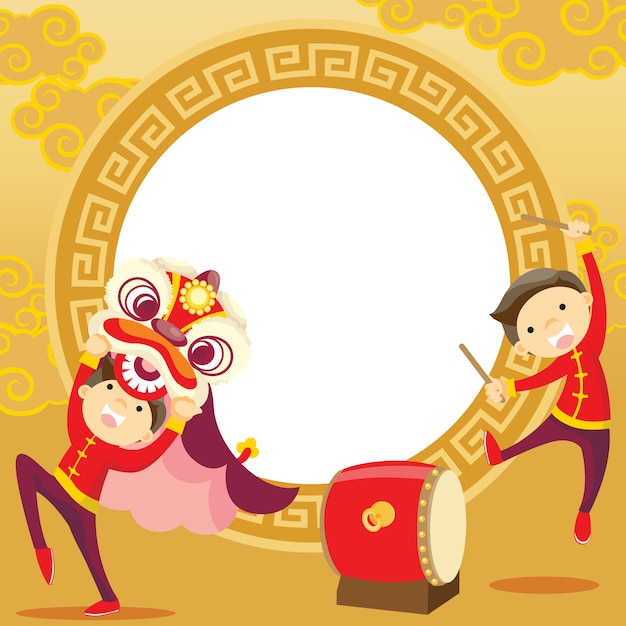 Chinesisches neujahr / lion dance Premium Vektoren