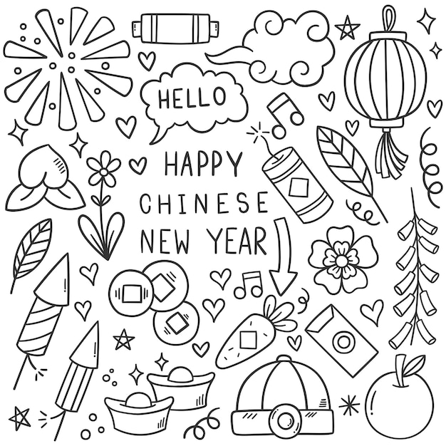 Chinesisches neujahr mit icon doodle style Kostenlosen Vektoren