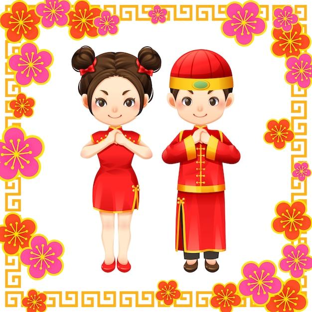 Chinesisches neujahr und chinesisches kind Premium Vektoren