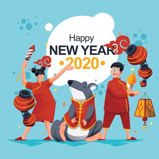 Chinesisches neujahrsfest-ratte mit kinderfeier Premium Vektoren