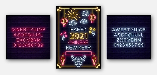 Chinesisches neujahrsplakat des weißen stiers 2021 im neonstil mit alphabet. feiern sie die einladung des asiatischen mondneujahrs. Premium Vektoren