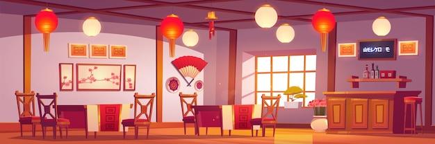 Chinesisches restaurant interieur, leeres café im traditionellen asiatischen stil mit rotem und goldenem dekor, laternen, sakura-bildern, kassierertisch, cafeteria mit holztischen und stühlen cartoon-illustration Kostenlosen Vektoren