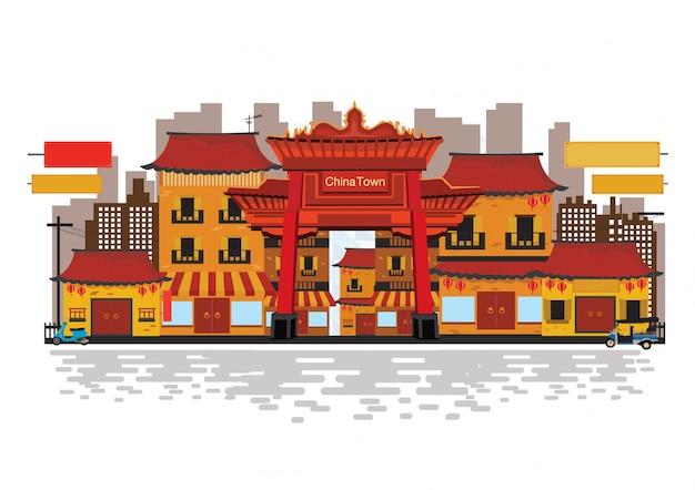Chinesisches traditionelles in der china-stadt. Premium Vektoren