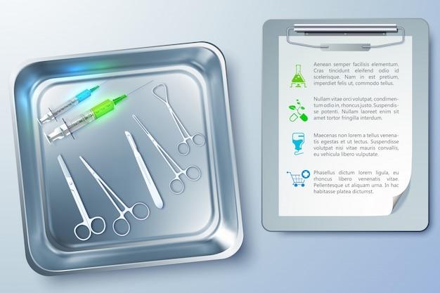 Chirurgie realistisch mit spritzen pinzette skalpellschere in metallsterilisator und notizblockillustration Premium Vektoren