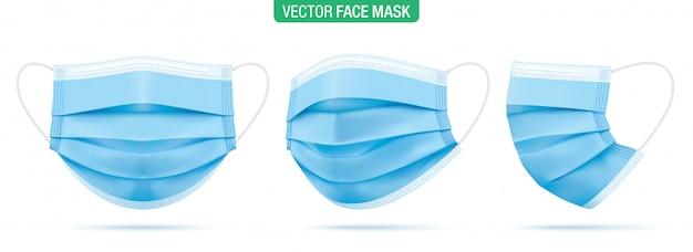 Chirurgische gesichtsmaske, illustration. blaue medizinische schutzmasken, aus verschiedenen winkeln auf weiß isoliert. corona-virenschutzmaske mit ohrschlaufe, vorder-, dreiviertel- und seitenansicht. Premium Vektoren