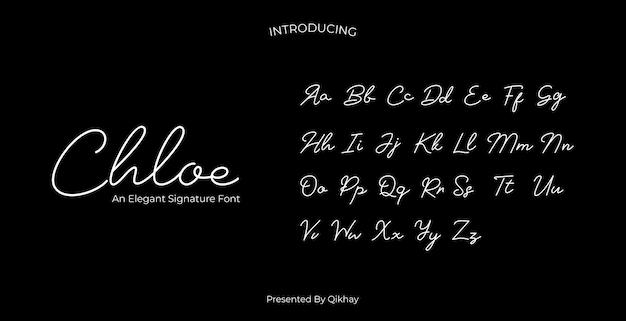 Chloe signature-schriftart Premium Vektoren