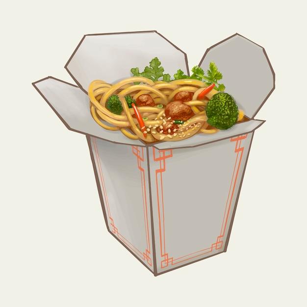 Chow mein in takeawy kastenillustration Premium Vektoren