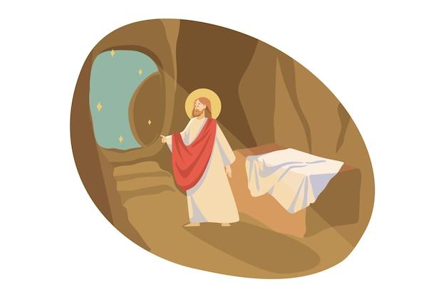 Christentum, religion, bibelkonzept. jesus christus, der sohn gottes, der prophet des evangeliums, religiöser biblischer charakter, verlässt die grabhöhle. aufstieg des messias und illustration des neuen testaments. Premium Vektoren