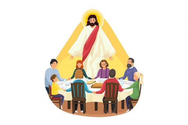 Christentum, religion, essen, schutz, gebet, anbetung, konzept. jesus christus, sohn gottes, beobachtet die junge familie, vater, sohn, tochter, mutter beim abendessen oder frühstück und betet. göttliche unterstützung oder fürsorge. Premium Vektoren