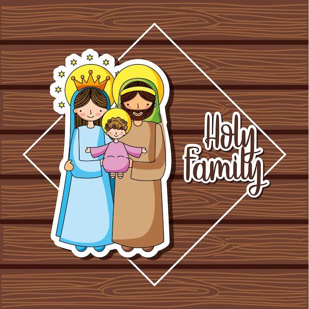 Christliche cartoons der heiligen familie Premium Vektoren