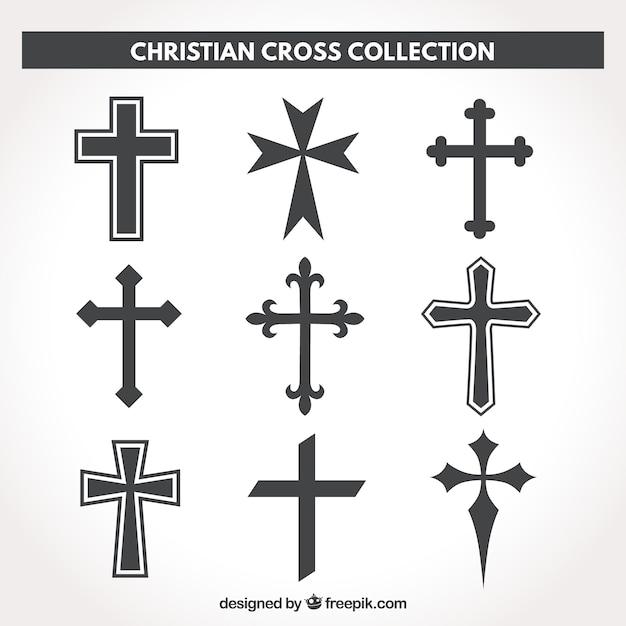 Christliche Kreuzkollektion des Schattenbildes Kostenlose Vektoren