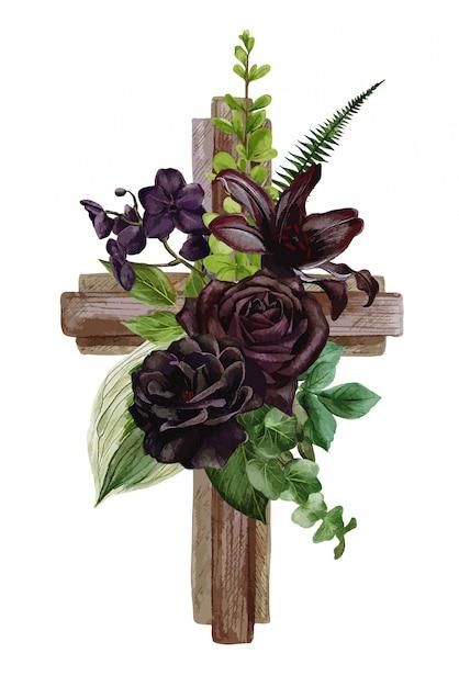 Christliches holzkreuz mit schwarzen rosen und blättern verziert Premium Vektoren