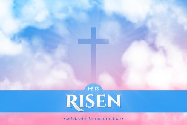 Christliches religiöses banner für osterfeier. horizontales banner. Premium Vektoren