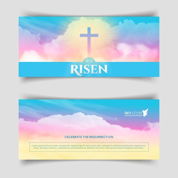 Christliches religiöses design. schmale horizontale banner. Premium Vektoren