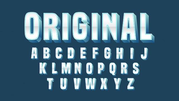 Chrom-blauer mutiger typografie-entwurf Premium Vektoren