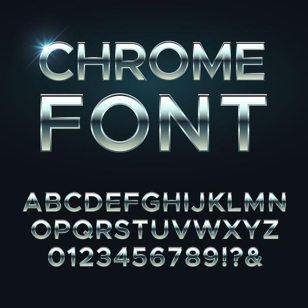 Chrome metall schriftart, stahl metallic alphabet buchstaben Premium Vektoren