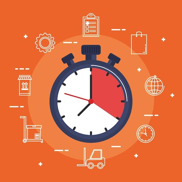 Chronometer-lieferservice-symbol Premium Vektoren