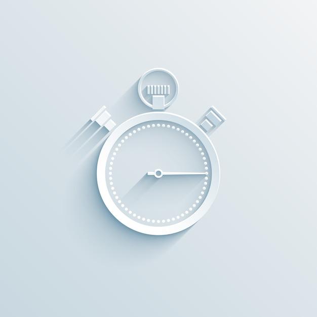Chronometerpapierikonenvektorillustration auf weiß mit schattengeschäftskonzept Kostenlosen Vektoren