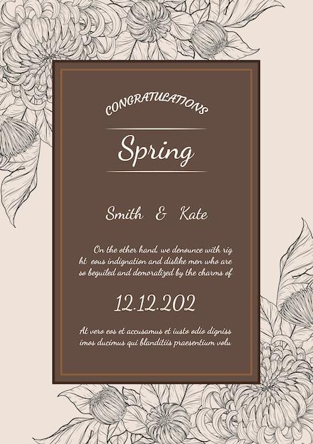 Chrysanthemenvektorkarte auf braunem hintergrund Premium Vektoren