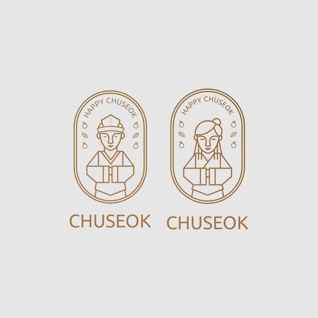 Chuseok, das zwei koreanische leute mit linie kunstkonzept grüßt Premium Vektoren