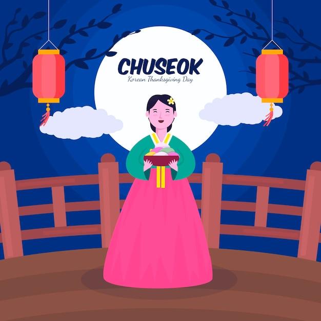 Chuseok-konzept im flachen design Kostenlosen Vektoren