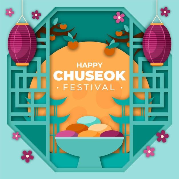 Chuseok-konzept im papierstil Premium Vektoren