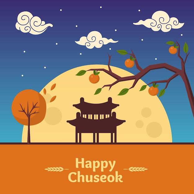 Chuseok-konzept mit flachem design Kostenlosen Vektoren